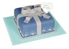 Mavi Hediye Paketi Şeklinde Yaş Pasta